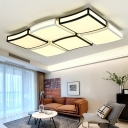 Black and White Wavy Flush Mount Lighting LED Modern Acrylic Ceiling Lamp for Living Room