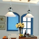 Mediterranean Bell Pendant Lighting Glass and Iron 1 Head Chain Hung Pendant over Kitchen Island