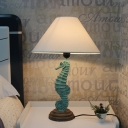 Sea Horse Accent Lamp Modern Resin and Metal 1 Light Desk & Table Lamps with Cone Shade for Bedside