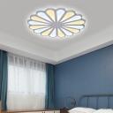 Living Room Flower Shaped Flush Light Acrylic LED Modern Simple White Ceiling Lamp