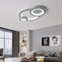 3 Light Combination Fixture Ring Semi Flush Lighting Acrylic Ceiling Flush in White/Gray for Living Room