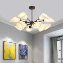 Cone Chandelier Lamp with White Fabric Shade 12 Lights Modern Hanging Light for Living Room
