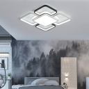 White and Black Flush Ceiling Light with Acrylic Shade Simple Modern Led Indoor Flush Light