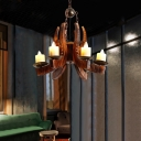 6-Light Candle Hanging Lamps Country Bamboo and Wood Pendant Chandelier for Restaurant Bar