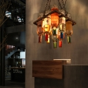 Wine Bottle Hanging Pendant Light Contemporary Glass and Metal Ceiling Pendant Lights in Rust for Restaurant