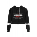 Michael Scott Letter Printed Stripe Long Sleeve Casual Crop Hoodie