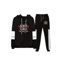 Fashion Letter Scott Schrute Printed Drawstring Hoodie with Sport Pants Two-Piece Co-ords