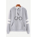 Stylish Eyeglasses Print Stripe Long Sleeve Pullover Hoodie