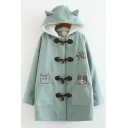 Cute Cartoon Cat And Dog My Life Letter Embroidered Long Sleeve Ear Hooded Duffle Coat