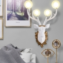 Clear Glass Ball Wall Light with Resin Deer Head 4 Lights Modernism Wall Mounted Light
