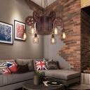 Creative Pulley Hanging Light Fixtures Retro Metal 4/6 Lights Cage Pendant Chandelier in Rust for Indoor