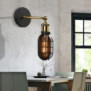 Cage Wall Mounted Light Loft Metal 1 Light Wall Sconce Lighting in Brass and Black for Bedroom