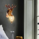 Gold Teardrop Wall Mount Light Rustic Style Resin Deer Single Sconce Light with Crystal Shade