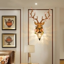 1 Light Deer Wall Light with Bloom Rustic Village Resin Indoor Sconce Lighting