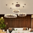 Clear Crystal Flower Ceiling Pendant Light with Ring Modern Decorative Led Chandelier