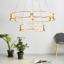 Gold Bracelet Chandelier Light Height Adjustable Contemporary Led Foyer Pendant Light