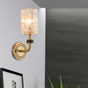 Cylinder Wall Sconce Light Mid Century Modern Metal Glass 1 Head Wall Lamp Sconce for Indoor
