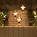 Retro Style Creative Ceiling Pendant Light Metal 1/3 Light Hanging Lantern for Dining Room