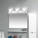 Warm/White V-Shaped Sconce Light Fixture Contemporary Metal Acrylic 3 Light Sconces for Bathroom