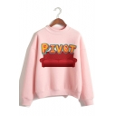 PIVOT Letter Sofa Printed Long Sleeve Mock Neck Pullover Pink Sweatshirt