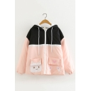 Students Preppy Style Cat Pattern Patchwork Color Block Striped Long Sleeve Zip Up Ear Hooded Jacket
