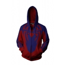 Unique 3D Spider Printed Cosplay Blue And Red Zip Up Hoodie With Pockets