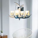 White Antler Suspension Light with Candle Village Resin Chandelier Light for Living Room