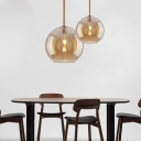 Spherical Hanging Light Glass Shade 1 Light Modern Pendant Lighting in Brass for Kitchen