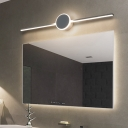 Modern Led Bathroom Lighting with Linear Shade Metallic Wall Mount Light with White Lighting
