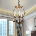 French Country Candle Pendant Light Wrought Iron 3 Lights Indoor Chandelier with Clear Crystal