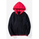 Guys New Simple Fashion Colorblock Drawstring Hooded Long Sleeve Plush Zip Up Hoodie
