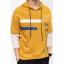 Mens Popular Fashion Contrast Stripe Letter Printed Fake Two-Piece Long Sleeve Casual Pullover Hoodie