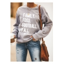 Trendy Street Letter FAMILY FOOD FOOTBALL FALL Printed Basic Crew Neck Long Sleeve Pullover Sweatshirt