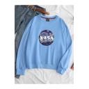 Fashion Galaxy NASA Logo Print Crew Neck Long Sleeve Loose Leisure Sweatshirt