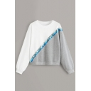 Fashion Color Block White and Grey Sequined Patched Crop Sweatshirt