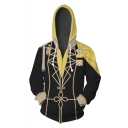 Popular Fire Comic Cosplay Costume Yellow and Black Zip Up Hoodie