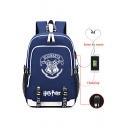 Harry Potter Hogwarts University Badge Printed USB Charge School Bag Backpack 30*15*44cm