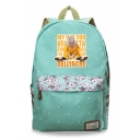 Fashion Cartoon Figure Letter Floral Printed Canvas School Bag Backpack 30*14.5*42cm