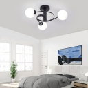 Contemporary Global Shade Semi-Flush Ceiling Light 3/5 Light Metal Flush Mount Light in Black for Living Room