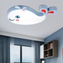Cartoon Whale Flush Ceiling Light Kids Metal Led Flush Mount Light with Acrylic Diffuser