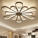 Acrylic Flower Flush Light Modern Ceiling Light Fixture in White for Living Room