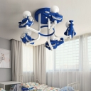 Resin Airplane Semi Flush Light Cartoon Kids 5 Lights Semi Flush Mount for Bedroom