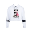 Cool Blond Car Figure Printed Striped Long Sleeve Casual Crop Hoodie