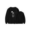 Kpop Boy Band Funny Cartoon Milk Bottle Printed Round Neck Long Sleeve Pullover Sweatshirt