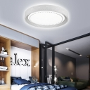 Hollow Design Metal Drum Ceiling Light Contemporary LED Flush Mount Light in White