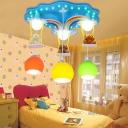 Cloud and Rainbow Flush Light with Bear Decoration Kids Glass Shade 6 Lights Pendant Light