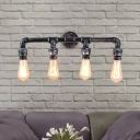 4 Light Pipe Wall Light Fixtures Steampunk Iron Open Bulb Wall Sconce Light Fixture for Indoor