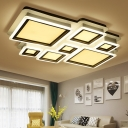 4/7 Blocks Ceiling Light Mounted Fixture Contemporary Metallic Combinable Ceiling Lamps