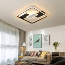Combination Fixture Linear Indoor Ceiling Light Acrylic Modern Flush Mount in Brown