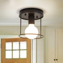 Minimalist Caged Lighting Fixture Iron 1 Light Semi Flush Ceiling Lights for Gallery Coffee Shop